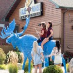 Main entrance to the Blue Moose features a metal moose for (possibly not recommended) climbing.