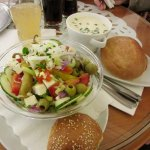 Greek salad, kohlrabi cream soup