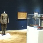 A room where soildier outfits and gear that was used in recent combat missions.