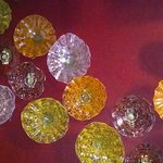 Art glass adorns the walls and greets the guests!