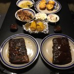 BBQ Pork ribs and sauce, pulled pork, BBQ corn, coleslaw, cornbread muffins