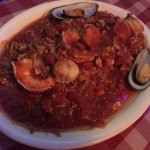 seafood delight with red sauce