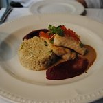 Oven-baked Latvian sturgeon fillet with cep pearl barley, beetroot and caraway seed purée, trout