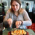 The better half tucking into her chicken fajita's