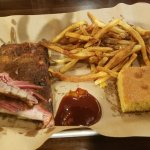 Coleslaw and baked beans. The St. Louis  ribs, fries,  and cornbread.