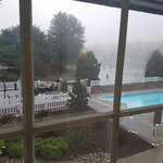 A little foggy but still a nice view of the outdoor pool & outdoor seating