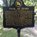 Trail of Tears historical marker outside the heritage center.