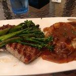 Ribeye steak, mashed potatoes and brocoli