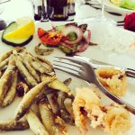 Our yummy lunch of whitebait, fried calamari and grilled veg