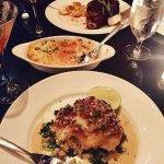 grouper with wilter spinach, lobster mac and prime rib