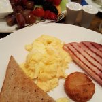 Ham&Eggs and Fruit Plate with Greek Yogurt