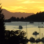 Sunset in Pender Harbour, view from Enchanter Oceanview Suites