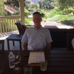 Wine tasting in the shade then lunch at Pence