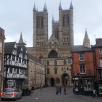 old market square and cathedral at the top of steep hill