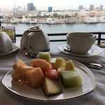 Breakfast and view from the club lounge