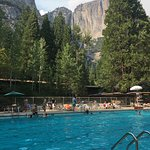 Pool with Yosemite falls backdrop