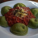 spinach ravioli with bolognese sauce
