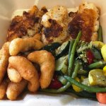 Broiled perch, mixed grilled veggies, and the best hush puppies!
