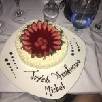 """Fabulous """"bal en blanc"""" with Kiana our great waitress and the birthday cake we ordered for my da"""