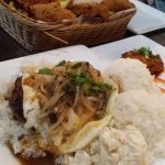Loco moco with fish basket in the background