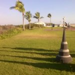 Crotched sculptures on lawn area of Cable beach and my friend lined up creating shadows at sundo