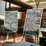 The blackboards have the day's lunch menu and are moved around so you can read them from your ta