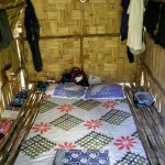 The inside of our A-frame hut. Minimalist, but perfect for the budget traveller.