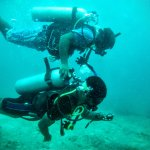 During the underwater navigation training dive.