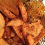 Crab cake, fries, & pita chips