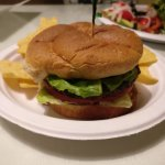 Black Rice burger with chips