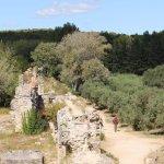 Les vestiges au milieu des champs d'oliviers