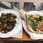 Brussels sprouts and cod bahn mi.