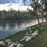 Panoramic view along the river and the relaxing area.