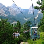 A view of the cable car up the mountain. Walking? No way!