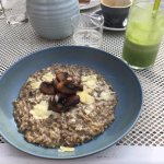green energy smoothie and wild mushroom risotto