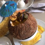 Sea food stew in a coconut shell, awesome choice !!!