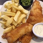 I liked the peas -- fish was also white and flaky. Chips - not so good.