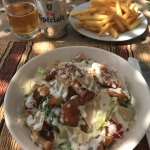 Light lunch on the terrace; beer, chips, caesar salad with chicken and moroccan soup (out of fra