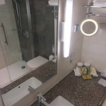 Level entry to shower, hand-held and overhead showers
