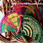 The colorful handmade fans