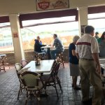Outdoor covered patio dining at Water Street Grille, Yorktown, VA, 9-10-17