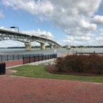 View of York River & Bridge from Water Street Grille, Yorktown, VA, 9-10-17