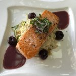 salmon with pickled cherries over vegetables - amazing!
