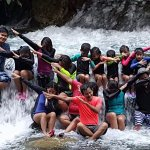 this photo was taken at the falls near the kawasanfalls :D we did our squad goal pose!