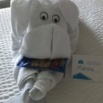 A welcoming dog or elephant (?) made from a towel