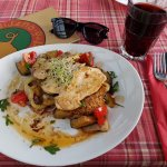 roquefort roasted chicken breast with grilled vegetables