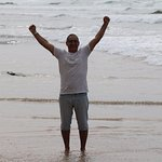 Yes wining in Peniche Portugal beach.