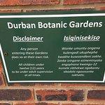 Durban Botanic Gardens Disclaimer