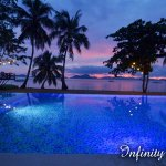 Our Infinity Pool facing the El Nido Bacuit Bay: picture taken just after the sunset
