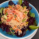 Crayfish noodle salad, chilli and lime dressing